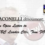 JACONELLI dénouement: Open Letter to SBC Leader Cllr Tom FOX