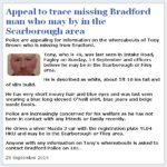 Bradford man who may be in Scarborough area