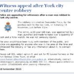 NYP: Witness Appeal After York City Centre Robbery