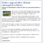 NYP: Appeal After Thirsk Attempted Robbery